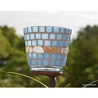 Handgefertiges Windlicht Tiffany blau Perlmutt 8 cm hoch
