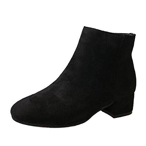 HSXZ Scarpe da donna in pelle Nubuck inverno cadono combattere Stivali Stivali Chunky tallone punta Mid-Calf scarponi per Casual Nero Marrone Beige Beige