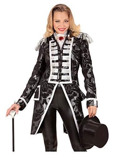 Horror-Shop Silber-schwarzer venezianischer Damenfrack für Fasching & Halloween XL