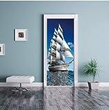 WXLZY Adesivi per Porte 3D barca a vela Adesivo porta 3D interna cameretta specchio wall art bagno Applique Carta removibile PVC impermeabile vinile Decorazione Carta Da Parati 95X215CM