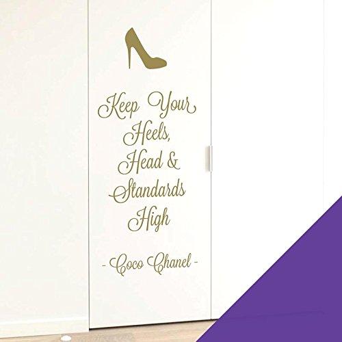 Wall Designer Wandsticker Keep Your Heels, Head & Standards High, Coco Chanel, violett, Large (300 x 800mm)