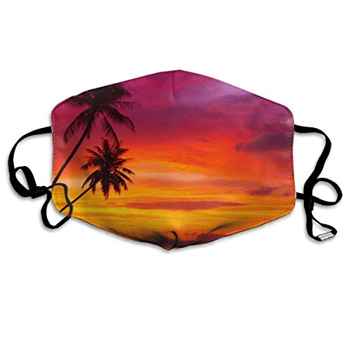 Fashion Earloop Mouth Mask, Anti-Dust Anti Flu Pollenm Germs Bacteria Mouth-Muffle with Adjustable Elastic Band - Windproof Pink Orange Palm Tree Sunset Half Face Mouth Mask -