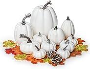 Lvydec Artificial Pumpkins Set Harvest Decoration, 11pcs Assorted Size White Pumpkins with 50pcs Maple Leaves