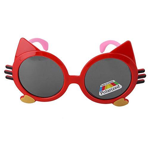 Infant polarisierte sonnenbrille weiche silikagel brille für kinder baby jungen mädchen cartoon cat eyewear(Rot C4)