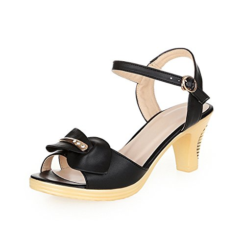 Lgk & fa estate sandali da donna d' estate sandali scarpe in pelle con spessore con no Good impermeabile pesce bocca scarpe fibbia scarpe a Mother, 34 black 34 black