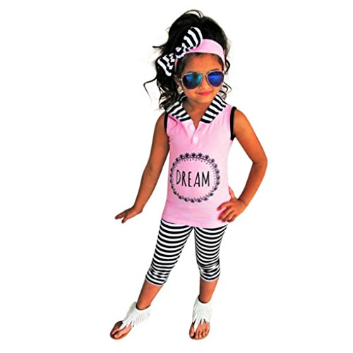 Kleidung Set Mädchen BeautyTop Baby Mädchen Sommer Kleidung Set Kleidung Baby kleiderset 2Pcs/Set Baby Kinder Hooded Ärmellose Bluse Tank top + Hose Outfits (Rosa, 3T)
