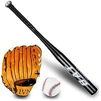 Juego de béisbol de 3 Piezas para niños Juego de béisbol con Guantes y Pelota de Ejercicios Bat of The bit Softball Bat Softball 25 Pulgadas (63-64cm) Negro