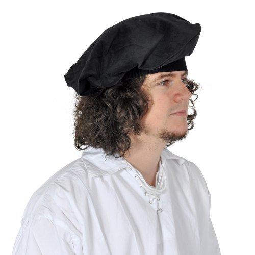 Mittelalter Barett Kopfbedeckung aus Samt für Damen und Herren, Gummizug, authentischer (Mittelalter Authentische Kostüme)