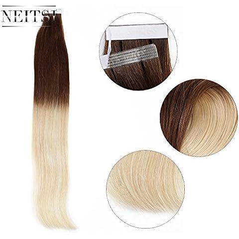 Neitsi® 50,8 cm 25 G 10 piezas diseño de mujer con pelo en los/Remy de cinta adhesiva con de apoyo recta de en el centro de primera calidad con naturales Skin trama de pelo de con peso en diseño de cinta de