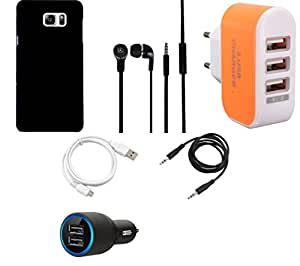 NIROSHA Cover Case Car Charger Headphone USB Cable Charger for Samsung Galaxy Note 5 - Combo