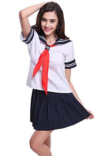 Anzug Segler Kostüm - NSPSTT Damen Schule Uniform Japanischer Anime Rock Segler Uniform Cosplay Kostüm