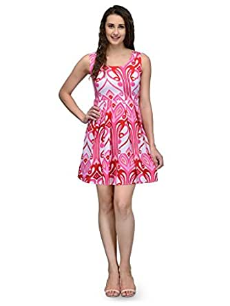 DeDe's Pink and White Poly Crepe Women's Sleeveless Dress