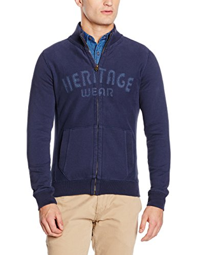 camel active Herren Strickjacken Stand-Up Jacke Blau (Dark 16)