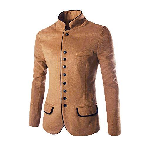 TEBAISE Herren Stehkragen Sakko Business Anzug Klassisch Knopf Slim Fit Blazer Büro Alltag Kurzmantel Haarig Tunika Jacke Mantel Outerwear (Khika,EU-50/CN-L)