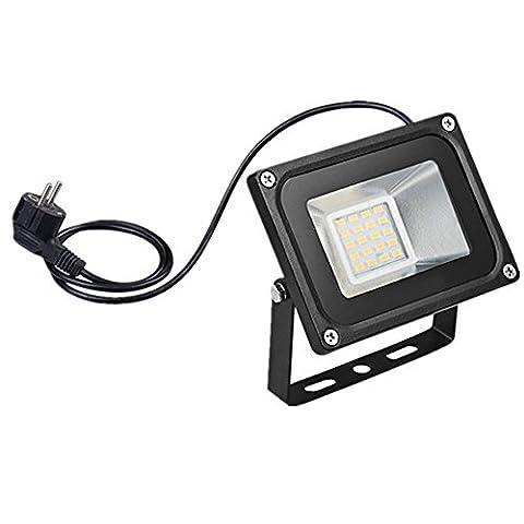 2X 20W LED Fluter Spot Wasserdicht IP65 Warmweiß LED Flutlich Scheinwerfer Wandstrahler Innenbeleuchtung/Außenbeleuchtung Strahler 220V mit Stecker