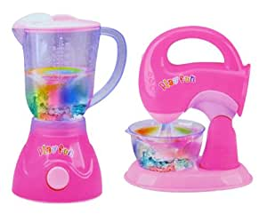 Pink Blender and Mixer Kitchen Appliances Toy Set for kids with Light Up Swirling Colors