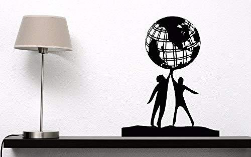 zhuziji Wand Vinyl Aufkleber Menschen Welt Freundschaft Wandkunst Wandbild Erde Globus Planet Frieden Design Wandtattoo Home Art Decora50.4x64.8cm
