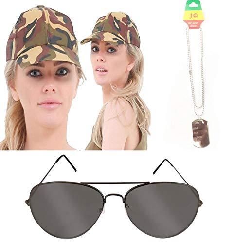 Islander Fashions Adult Camouflage Kost�m Kit Hut Erkennungsmarken & Pop Icon Brille Hirsch Do Zubeh�r One (Aviator Kostüm Kit)