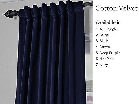 Amore Beaute Handmade Navy Blue Cotton Velvet Curtain Customisable Window