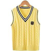 GKKXUE Primavera Chaleco del suéter los niños británica College Wind Sweater Chaleco (Color : Amarillo, Tamaño : 140cm)