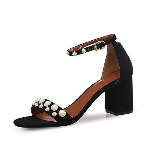 Couleur Avec Petite Sandales Mot Romaine Grossier SHOESHAOGE Avec unie DÉté Toe Un Une Fuite Pearl Avec Chaussures q47wZUv