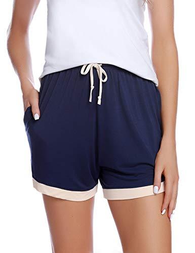 1488eafef6 Abollria Shorts Damen Schlafanzughose Kurz Schlafhose Kurze Sporthose  Baumwolle Pyjamahose Kurz Hosen Yoga Running Gym Beiläufige Elastische  (Blau-1, XXL)