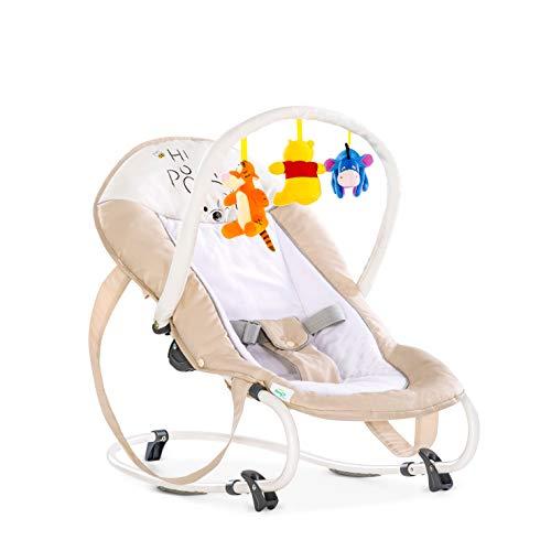 Hauck / Disney Babywippe Bungee Deluxe / Schaukelfunktion / Spielbogen / verstellbarer Rückenlehne und Tragegriffe / ab Geburt bis 9 kg verwendbar / kippsicher und tragbar, Pooh Cuddles (Beige)