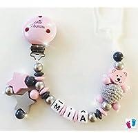 Schnullerkette mit Namen - Kleine Prinzessin - Bär mit Häkelperle - Stern - Mädchen - rosa- grau- silber- C017