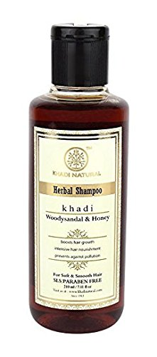 Natürliche Kräuter ayurvedischen Woody Sandale und Honig-Kräuter-Shampoo für alle Haartypen Sls & Paraben Free (210 ml) - von Khadi Organic Natural -