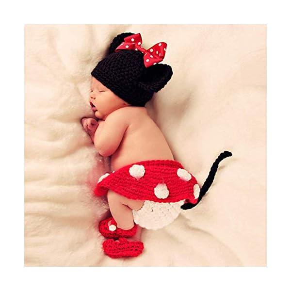 Isuper Lindo bebé infantil Ratón Traje Foto Fotografía Prop 0-6 meses Recién nacido Rojo 3