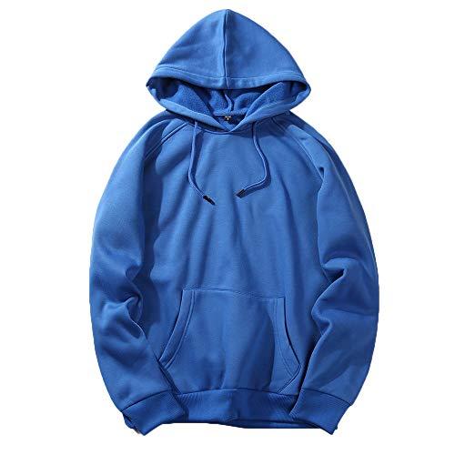 Kostüm Brauner Trenchcoat - UJUNAOR Herren Langarm Hoodie T-Shirt Kapuzenshirt Mit Kapuze Männer Pullover in Vielen Farben(Blau,L)