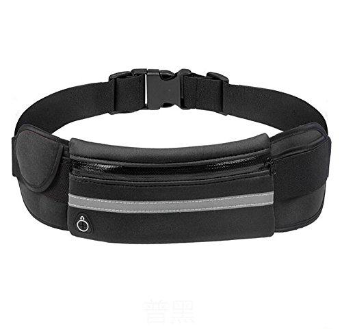 Marsupio, MOACC Sport impermeabile riflettente Marsupio Cintura da Corsa Borsa Supporto universale per cellulare per Fitness escursioni, arrampicata, Black