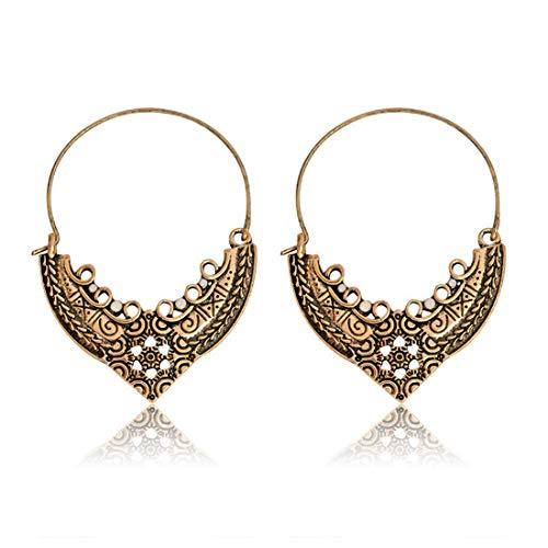 LOSOUL Damen-Ohrringe, Vintage, Bohemian-Stil, Blumen-Mandala-Ohrringe, indisches Tribal, Ethnische Kreolen, baumelnd, hängend, Ohrringe -