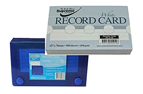 5 X 3 Record Porte-cartes et index box + 100 5 x 3 fiches bristol