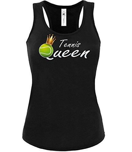 Tennis Queen 5366 Fanshirt Frauen Damen Fun Tank Top Funshirt Tanktop Sportbekleidung Fanartikel Shop Shirt Tshirt Schwarz M