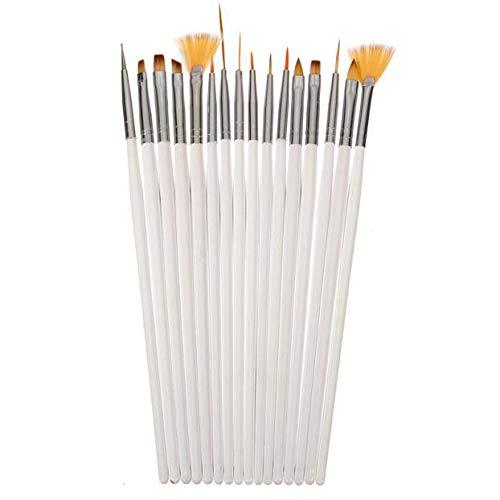 HuaMore Costume de débutant semi-permanent couleur nude populaire 16pcs Nail Brush Brushes Set Nail Polish Gel Art Paint Design Pen Tools Makeup