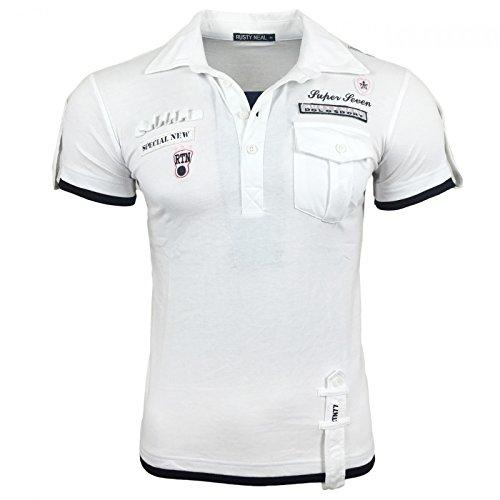 Herren T-Shirt Mix Motive Strass Steine Style Rundhals Kurzarm S M L XL XXL NEU 301 Weiß/Schwarz