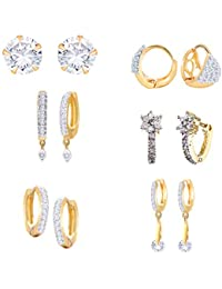 b18476eb5 Zeneme Combo of Trendy American Diamond Earrings Jewellery For Girls and  Women