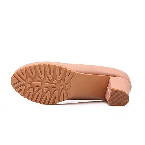 AllhqFashion Femme Rond Matière Souple à Talon Correct Tire Mosaïque Chaussures Légeres Rose