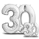 Luftballons 30. Geburtstag XXL Silber - Riesen Folienballon in 2 Größen 40