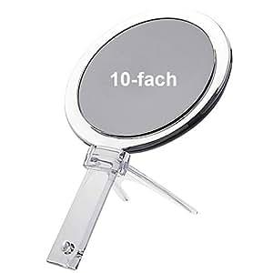 Kosmetex Hand- und Stellspiegel mit 10-fach Vergrößerung, Acryl mit Ständer, 2 Spiegelflächen, Kosmetik-Spiegel, 10-fach