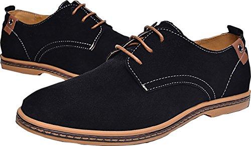 Bonways Suede Cuir Chaussures de Ville Homme Chaussures de Ville A Lacets Noir