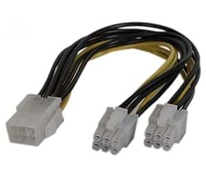 Câble d'alimentation pci express 6 pin vers 2x pci e 6 pin