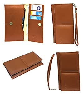 J Cover A5 G12 Leather Wallet Universal Pouch Cover Case For HTC 630  Tan