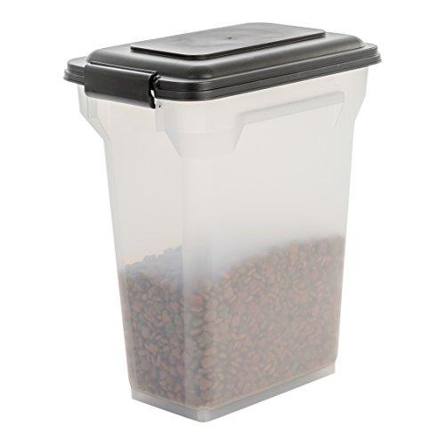 IRIS, luftdichte Futtertonne / Futtercontainer / Futterbehälter ATS-M, für Hundefutter, Kunststoff, transparent / schwarz, 20 Liter / 7,5 kg