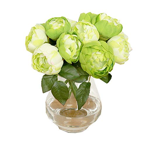 EUTUOPU 1 Bouquet 6 Heads Artificial Peony Silk Flower Leaf for Home Wedding Party Decor (Green) -