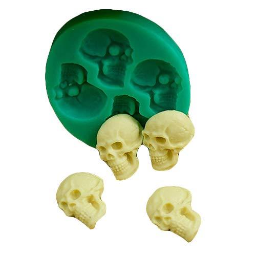(FOReverweihuajz Kreative Lebensmittelqualität Silikon 3D schädelkopf Silikon Fondant Kuchen Schimmel, Süßigkeiten Schokolade gumpaste Gelee Form, Halloween-Party DIY back Werkzeuge)