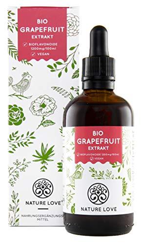 Schöne Haut-tee (NATURE LOVE® Bio Grapefruitkernextrakt. 1200mg Bioflavonoide / 100ml. Laborgeprüft und Bio zertifiziert. Grapefruit Extrakt aus Kern und Schale. Hochdosiert, vegan und hergestellt in Deutschland)