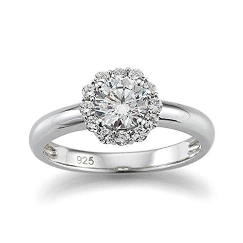 gooix 943-03894 Damen Ring Sterling-Silber 925 weiß Zirkonia 17,8 mm Größe 56