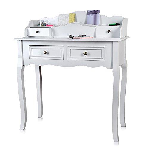Melko Schreibtisch antik im Landhaus Stil in weiß 87,5x40x102 cm (BxTxH)